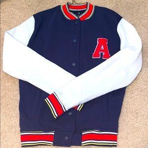 """Letter """"A"""" navy varsity jacket"""